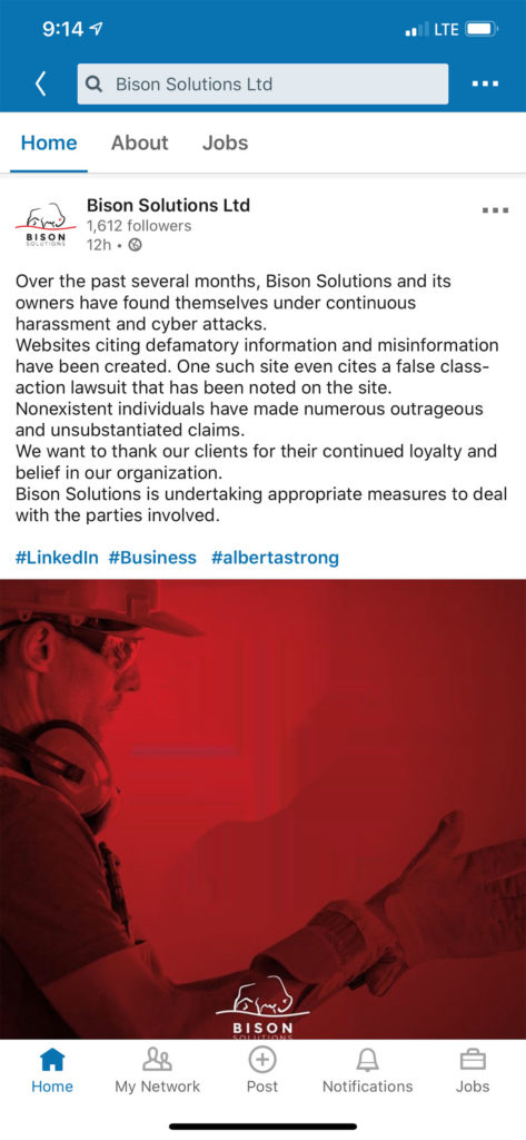 Bison Solutions and Mani Khaghani false advertising on LinkedIn. Also does business as BSL Training.